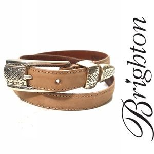 NEW Brighton Tan Suede / Leather Skinny Belt ML 32